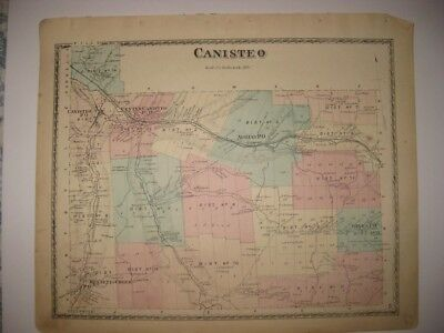 Antique 1873 Canisteo Adrian Jones Steuben County New York Handcolored Map Rare