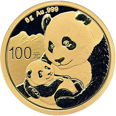 2019 China 8 g Gold Panda ¥100 Coin GEM BU SKU55886