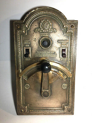 Vtg Antique Brass Otis Elevator Control Panel Switches Etc Deco Complete Crank