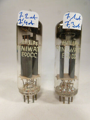 two E90CC Philips Miniwatt D getter TS code pair tube, matched near NOS with U61