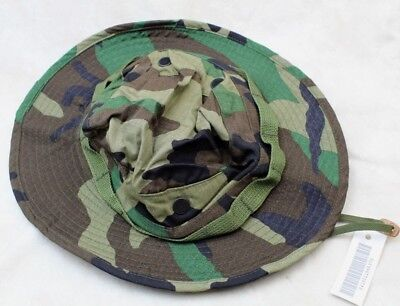 *Sale* 1990'S Us Army Issue Boonie Hat Sun Woodland Camo Type-Iii Ripstop 6 7/8