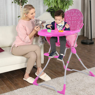 Pink Baby Infant Toddler High Chair Feeding Booster Seat Table Folding Portable