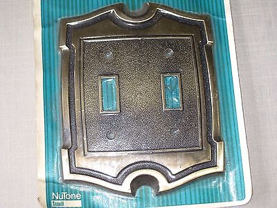 NIP Vintage Brass Tone Metal Electric Wall Double Switch Plate Cover Made in USA