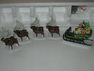 DEPT 56 NORTH POLE SERIES -Sleigh & Eight Tiny Reindeer Set Of 5 in Orig. Box