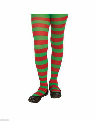 Child Red & Green Striped Tights Christmas Candy Cane Jolly Elf Santa's Helper