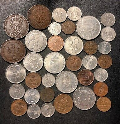 Vintage Sweden Coin Lot - 1877-PRESENT - 36 EXCELLENT Coins - Lot #N5