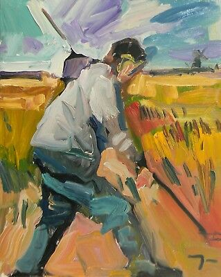 Jose Trujillo Oil Painting Field Worker Working Man Figure Landscape Large Art