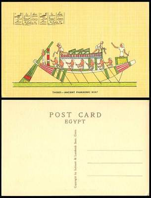 Egypt c1960 Old Postcard Thebes Ancient Pharaonic Boat Egyptian Pharaoh Ship ART