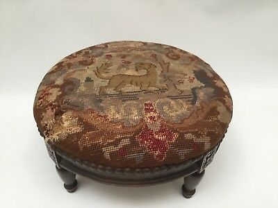 Antique Needlepoint Round Empire Stool Wood Lion Image for Restoration/Repair
