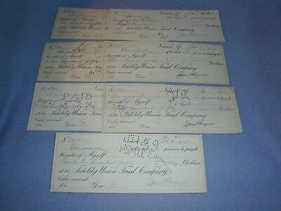 Lot Of 7 Cancelled Checks 1923-1924 W/ Documentary Stamps On Back Newark Nj