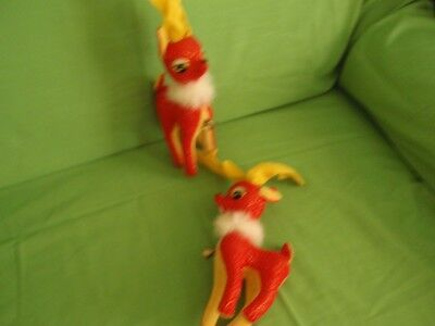 Stunning Antique Japanese Pair Of Red And Yellow Reindeer