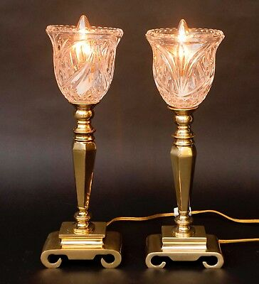 Pair Of Polished Brass Look Torchiere Lamps With Crystal Glass Shade Globes 16""