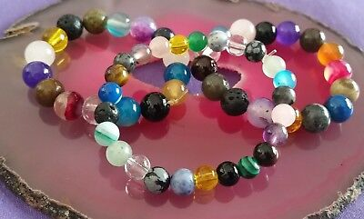 Wow - 3 Handcrafted Mixed Small Gemstone Stretchy Bracelets - For Kids