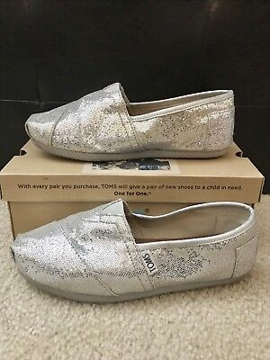 484210a95017 TOMS WOMENS SHOES Black Gold Metallic Shimmer Canvas Slip On Flats ...