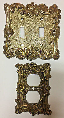 1967 Vintage Brass Floral Rose 1 Outlet & 1 Double Switch Plate  Am Tack & Hdw