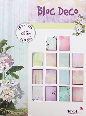 Paper Deco pad 28 sheets 15x20cm 140g block scrapbooking card making wedding