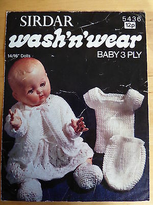 "Vintage Knitting Pattern, Layette for 14 & 16"" Baby Doll, 3 ply"