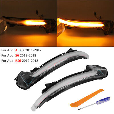Dynamic Flowing Side Mirror Turn Signal Indicator Blinker For Audi C7 A6 S6 RS6