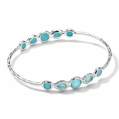 234f24b0648 Ippolita Sterling Silver Turquoise Diamond Pavé Bangle Bracelet $1295 New