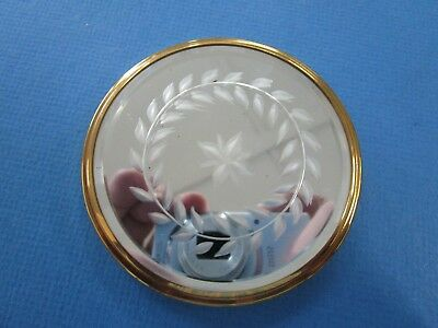 Vintage ladies Mirrored Top, USA Made Mirrored Compact