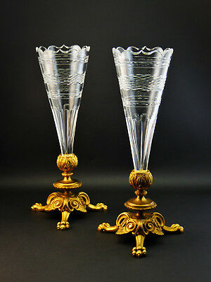 FINE PAIR ANTIQUE 19thC FRENCH EMPIRE GOLD GILT ORMOLU CUT GLASS EPERGNE VASES