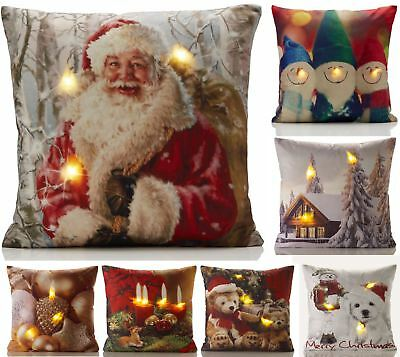 Christmas LED Light Up Cushion Cover Case Scatter Cushion Xmas Gold Winter New