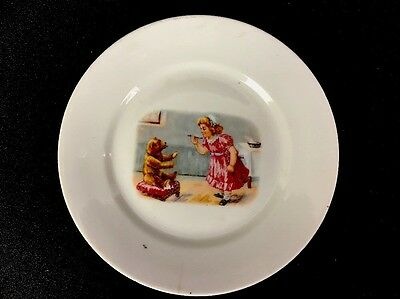 """Antique Porcelain Childrens Baby Plate Girl W/ Teddy Bear 5-3/4"""" Unmarked As Is"""