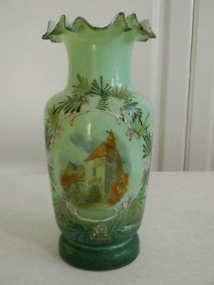 Antique Pairpoint Mt Washington Hand Painted Country Cottage House Ruffled Vase
