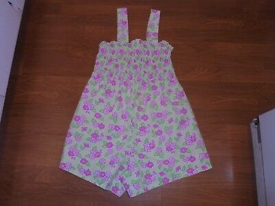 Motherhood Maternity pastel green short romper jumpsuit with pink flowers S