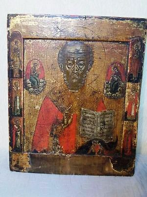 Antique Russian icon St. Nicholas miracle worker gesso tempera 18th kovcheg gold