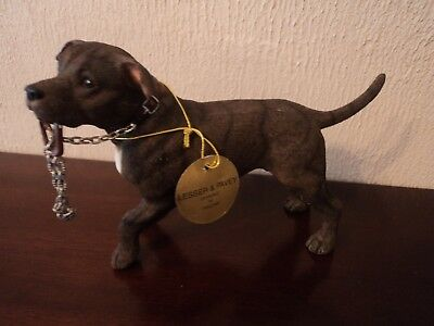 Vintage Hand Painted Tiger Brindle Staffordshire Bull Terrier Dog Carrying Lead.
