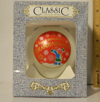 Christmas For a Wonderful Granddaughter Holiday Tree Glass Ornament 3 1/4 Girl