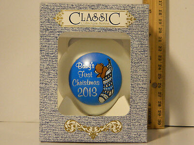 2013 Baby's First Christmas Tree Glass Ornament Blue Boys Classic 3 1/4 In w Box