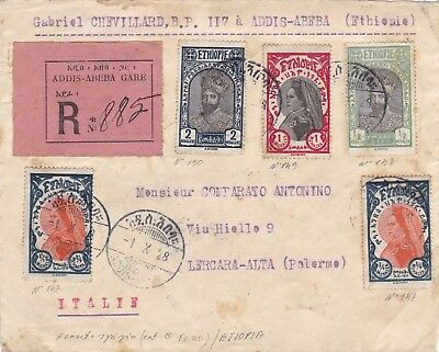 1928 Etiopia Ethiopie Front Of Registered Letter From Addis-Abeba To Italy