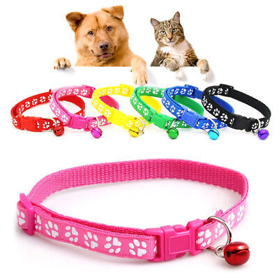 2pcs Cute Paw Print Nylon Cat Kitten Dog Collars with Bell Necktie Necklace Set