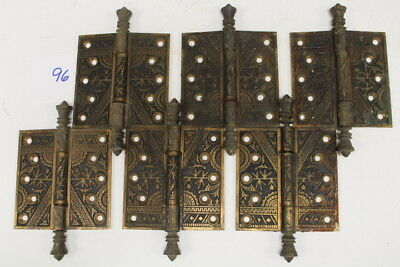 #096 – Lot Of 6 Solid Brass, Ornate Oriental-Themed Door Hinges, 19Th C.