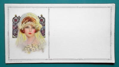 PINUP GIRL Young Beauty Wedding Veil White Flowers - Est 1920s INK BLOTTER