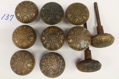 #137 – Lot Of 10 Cast Iron, Brass Plated, Ornate Door Knobs, 19Th C