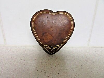 Vintage Leather Heart Shape Box 6 Cm By 6 Cm By 2 Cm Jewellery ? Collectable