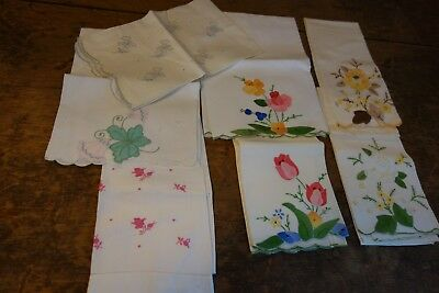 1930's Guest Towels-7- White Linen/Cotton-Appliqued Tulips,Daffodils- VG-ELEGANT
