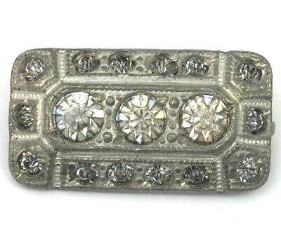 Tiny Art Deco Clear Rhinestone Brooch Pin Silver Tone Metal Vintage Jewelry