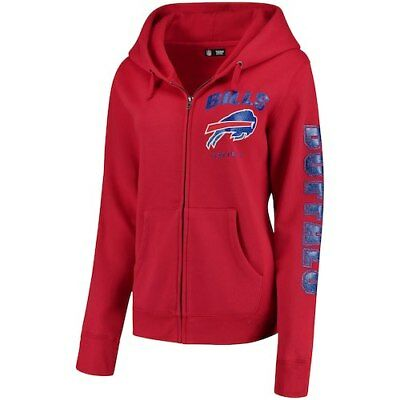 New Era Buffalo Bills Women s Red Playbook Glitter Sleeve Full-Zip Hoodie 9e37147f1