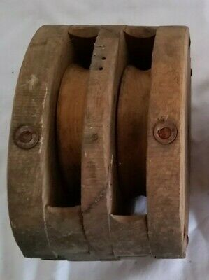 Antique Ships Unfinished Pulley, Rigging, Tackle Block w/ Wooden Sheave