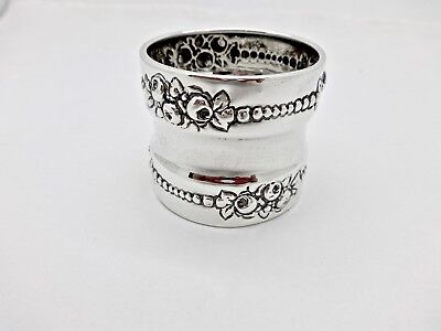 Large Gorham B210 Floral Rose Motif Sterling Silver Napkin Ring,no Mono,1.5""