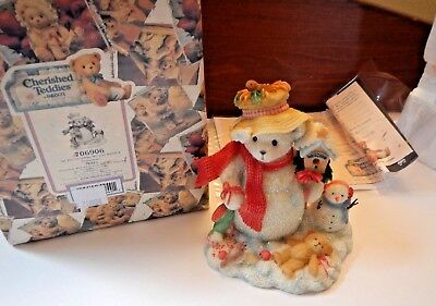 Cherished Teddies In The Meadow We Can Build A Snowman Merry Christmas in Box
