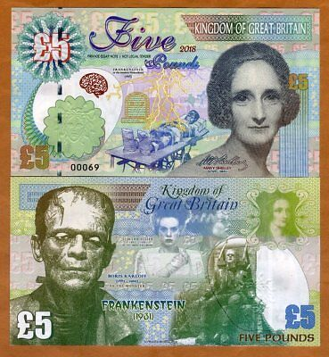 Great Britain, 5 pounds, 2018, Kamberra > Mary Shelley, Frankenstein Monster