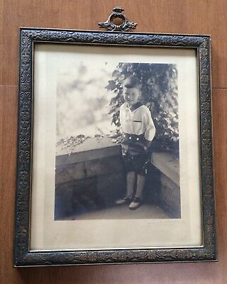Antique Arts Crafts Wood Cast Metal Hanger Picture Frame Newcomb Macklin Style