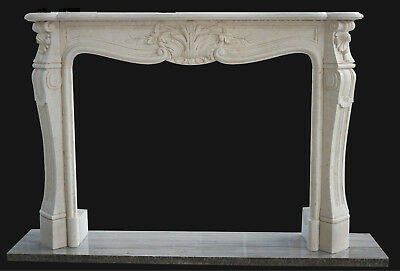 Classic Hand Carved French Style Marble Fireplace Mantel