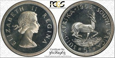 1953 South Africa Silver 5 Shillings PCGS PR66CAM CAMEO POP 7 ONLY 3 HIGHER