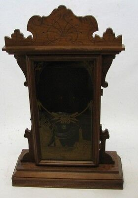 Antique Walnut New Haven Kitchen Parlor Clock Case Parts Repair